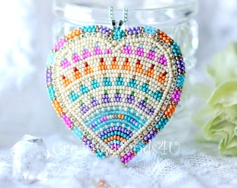 Beaded Heart Pendant/First Nation Beading/ Made in Canada/ Gifts for her