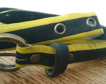 Yellow and black belt made from a recycled bike tire, with eyelets - 2,3cm wide