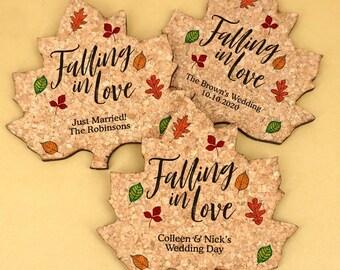 Personalized Leaf Cork Coaster - Fall Wedding - Autumn Leaf Coasters - Custom Cork Coasters - Wedding Favors (8499140)