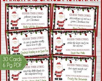 Christmas lyrics game christmas song game christmas carol christmas carol pictionary christmas games family game night christmas party game stocking stopboris Gallery