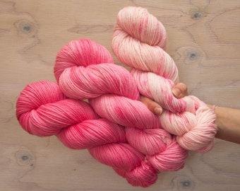 Hand dyed DK yarn, merino yarn, pink yarn, gradient yarn, wool yarn, dk yarn, semi solid, dyed yarns set, hand dyed yarn