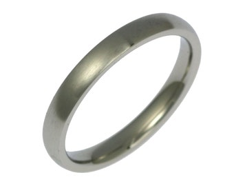 3mm Brushed Stainless Steel Mens Comfort Fit Wedding Band Ring, Mens Wedding Rings, Brushed Stainless Steel Mens Ring, John S Brana