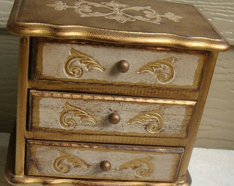 Toleware Gilted Vintage Musical Jewelry Box