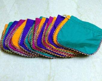 "100 pcs Silk Favor bag - 4""x5"", 5""x6"" or 6""x7"" - Bridesmaid Gift Bag, Potli Bag, Jewelry bag, Cosmetic bag, Indian Wedding Party Gift Ideas"