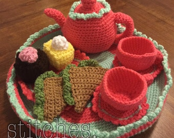 Tea Set, Crocheet Tea Set, Play Food, Crochet Food, Pretend Play, Imaginative Play, Teapot, Crochet Tea Pot