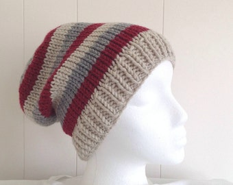 Striped slouchy hat - Womens wool mix hats - Teens slouchy beanie - Hand knit slouch hat