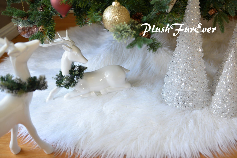 30 White Mongolian Faux Fur Tree Skirt Custom Made USA