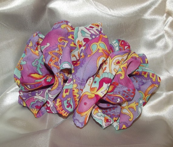 Becky Bows ~  Barrette scarf Hand crafted oversized  BIG hair bow Women or Girls burgundy purple paisley