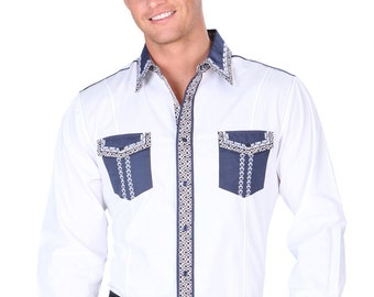 Western Shirt L/Sleeve El General 55% Cotton 45 Polyester White ID 34239
