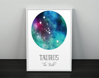 Taurus Wall Art Zodiac Art Galaxy Constellation Print