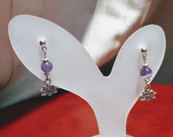 Small Lotus Amethyst Earrings