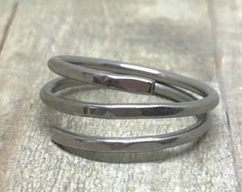 Open Wire Wrap Ring, Stainless Steel Hammered Ring, Stainless Steel Ring, Woman Ring