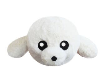White seal plush handmade stuffed gift