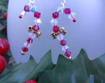 Swarovski Candy Cane Earrings, Candy Cane Earrings, Christmas Jewelry, Holiday Jewelry, Gifts for Her, Candy Canes, Festive Jewelry