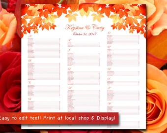 Autumn Wedding Seating Chart Template   Watercolor Fall Leaves Red Burnt Orange Microsoft Word Template   You Print - 22x22 Wedding Download