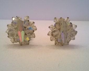 Sparkling Aurora Borealis Clear Crystal Bead Earrings - 1 Inch Diameter - Vintage 1960s AB Clip Earrings