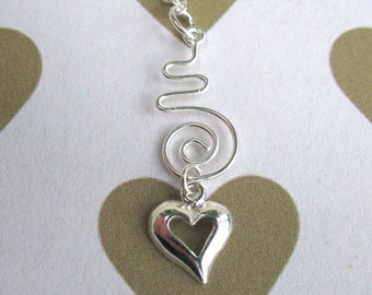 Beautiful Modern Spiral Heart Charm Necklace Sterling Silver