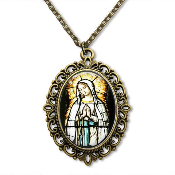 Our Lady of the Rosary Necklace - Catholic Necklace with Stained Glass Art - Our Lady of Lourdes