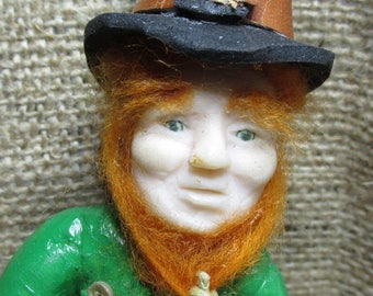 Leprechaun (OOAK) One Of A Kind,Free shipping,Myth,Fantasy, Folklore,Irish folklore,Clay Art Doll,Hand Sculpted,Polymer Clay Mythical Fairy,