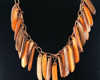 Rain Necklace, hand-made with Tagua (Vegetable Ivory)