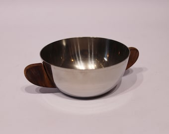 Small sugare borl in stainless steel and teak, danish design, 1960s