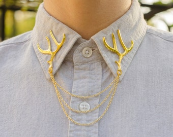 Gold Deer Antler Collar Chain/ Cardigan Clip