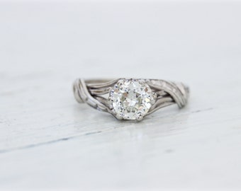 SALE Vintage Engagement Ring | 1960s Diamond Ring | Vintage Solitaire Ring | Platinum and 18k White Gold Ring | Mid Century Ring | Size 4.5