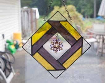 Mixed Media/Stained Glass and Chainmaille suncatcher