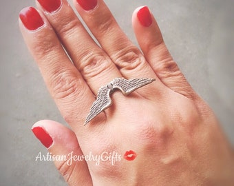 Antique Silver Angel Wings Ring Boho Ring Hipster Ring Statement Ring Bohemian Ring Silver Feathers Ring Adjustable Ring Boho Gift For Her