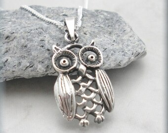 Owl Necklace, Filigree Jewelry, Sterling Silver, Owl Lover, Bird Necklace, Owl Jewelry, Graduation Gift, Wise Owl