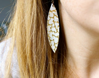 Small White and gold Leather Feather Earrings