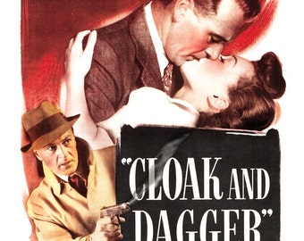"Cloak and Dagger - Movie Poster Print  13""x19"" - Vintage Movie Poster - Gary Cooper - Home Theater Media Room decor"