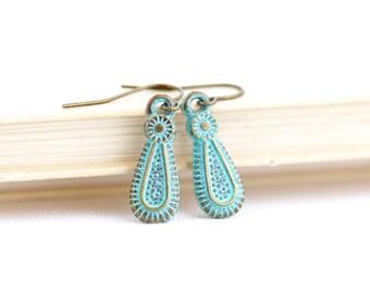Ethnic Earrings - Tribal Earrings - Small Green Earrings - Patina Jewelry - Brass Earrings - Boho Jewelry - Rustic Earrings - Gift For Her