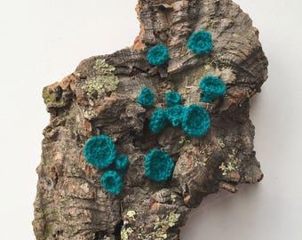 Fiber Sculpture: Teal Fungi on Cork Bark