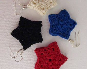 Crochet star earrings (free shipping in US)