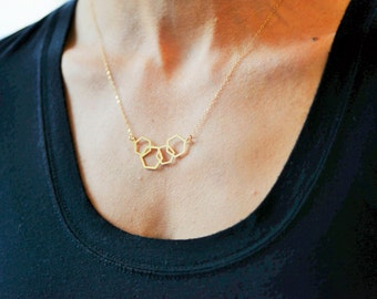 Geometric Linked Hexagon Necklace // Gold Plated Laser Cut Geo Gem Necklace // Gold Hexagon Necklace