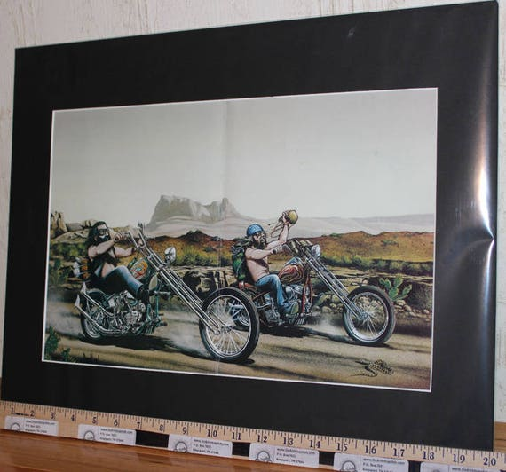 David Mann ''Desert Run'' 16'' x 20'' Matted Motorcycle Biker Art #7808ezrxmb
