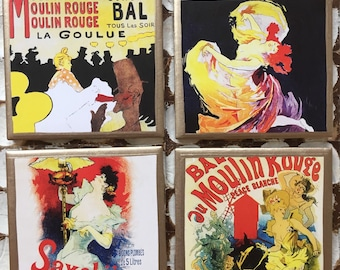 COASTERS!!! Vintage posters set of four coasters with gold trim!