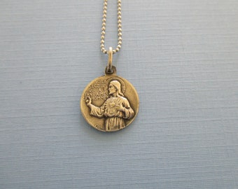 Rare Sacred Heart of Jeus Religious Medal - Our Lady of Notre Dame - Pendant Necklace - Religious Jewelry - Catholic Gifts