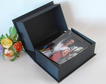 Clamshell  box - 4x6x2in. -  Black silk - Ready to ship