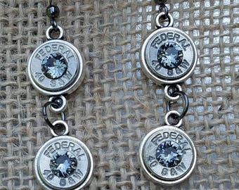 Black Diamond Swarovski Crystal Bullet Dangle Earrings