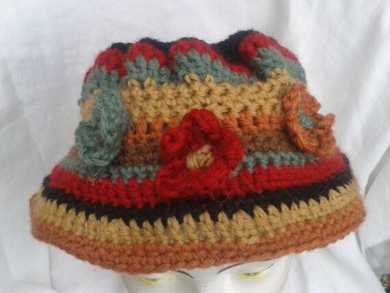 Wool Hat Brown Flowered Hand knit French Brown Black Beige Red Gray Yarns Medium #sophieladydeparis