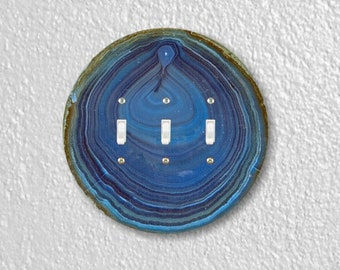 Blue Geode Stone Round Triple Toggle Switch Plate Cover