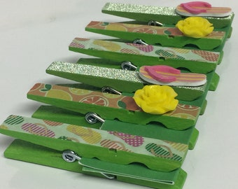 Bright green painted clothespins, decorated clothespin magnets, fridge magnets, refrigerator magnet set, lime green clothespin clips, clips