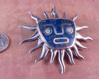 Vintage Miguel Melendez Sterling and Lapiz Sun God Brooch