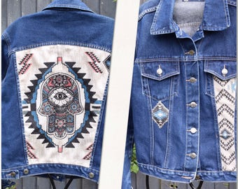 Aztec denim jean jacket