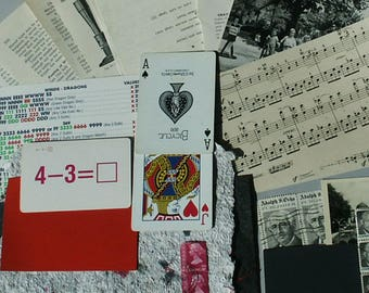 Vintage Ephemera Pack , Assorted papers cards and stamps  can be used in junk journals, scrap-booking, mixed media