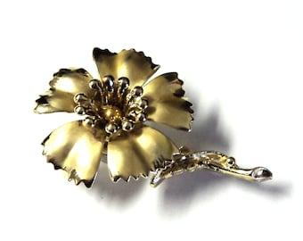 "Bright Gold Flower Magnet, Upcycled Vintage Brooch, 2"", Handmade Magnet, Home Decor, Stocking Stuffer"
