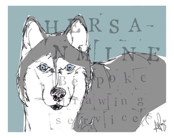 Hand Drawn Beautiful B&W Husky stock print. Postcard size 6x4 inches