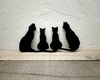 Cats Metal Art/Group of 4 Cats/Cat Decor/Halloween Decor/Metal Wall Decor/Animal Decor/Halloween Display/Metal Wall Art/Metal Black Cats
